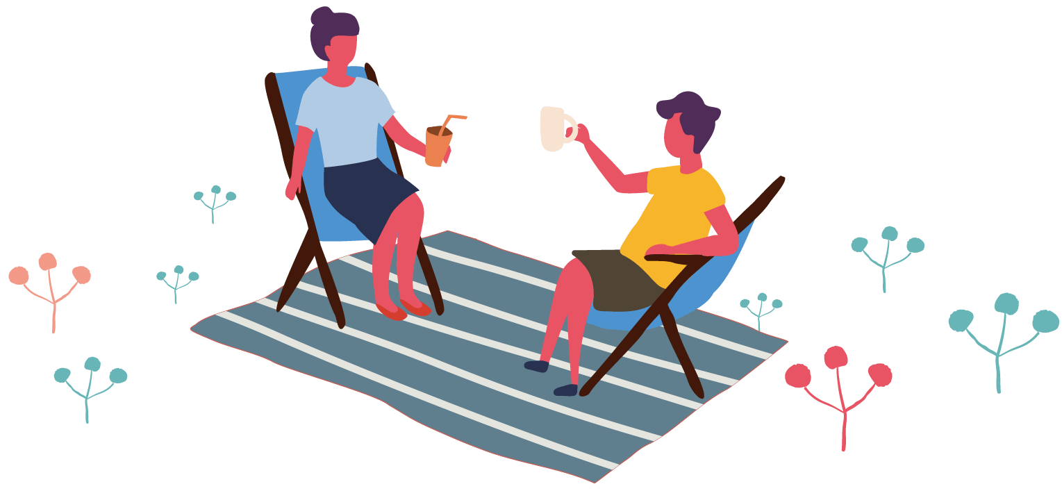 椅子に座って会話する二人のイラスト